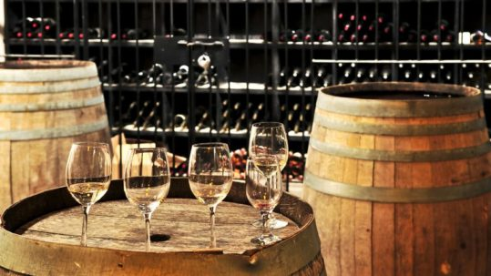 4616871 Row Of Wine Glasses On Barrel In Winery Cellar